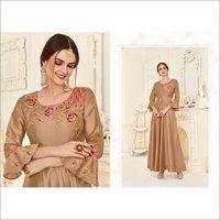Soft Taffeta Silk Heavy Work Party Wear Golden Gown