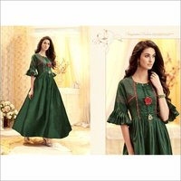 Tapeta Satin With Handwork Bell Sleeve Party Wear Gown