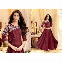 Tapeta Satin Maroon Color Party Wear Gown