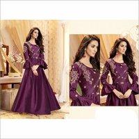 Tapeta Satin Violet Color Party Wear Gown
