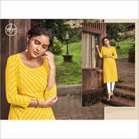Rayon Slub Printed Yellow Kurti
