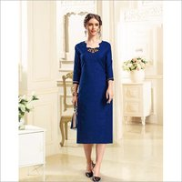 Ladies Dobby Handloom Royal Blue Color Kurti