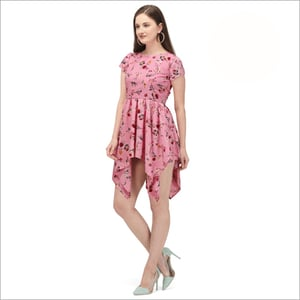 High Quality Poly Camric Cotton Printed Western Dress