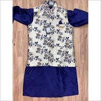 Mens Blue Jacquard Kurta With Jacket Set