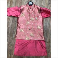 Mens Designer Pitch Kurta With Jacquard Nehru Jacket Set