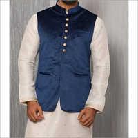 Mens Designer Blue Kurta With Jacket