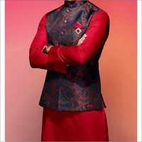 Mens Mesmerizing Red And Blue Kurta With Jacket Set