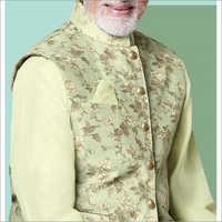 Mens Pastel Green Jacquard Kurta With Jacket Set
