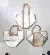 Hand Woven Silver Jute Beach Bag