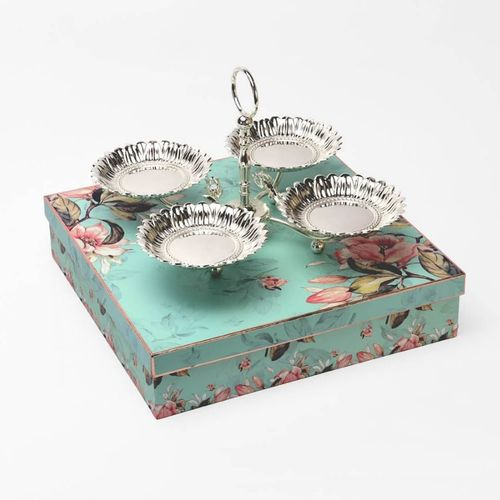 4-in-1 Silver Centerpiece Bowl With Stand