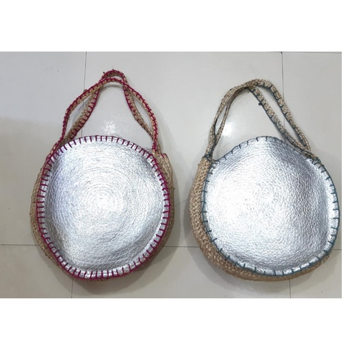 Jute Silver Plated Tote Bag