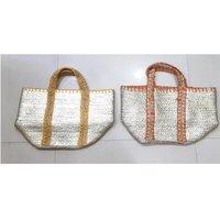Jute Beach Tote Bag With Sliver Printed
