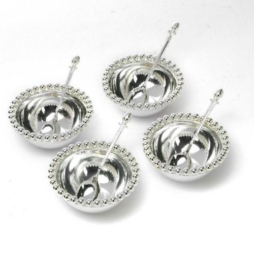 Beaded Rim Silver Bowls with Spoons