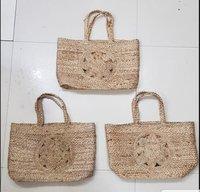 Plain Hand Woven Jute Beach Bag