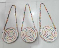 Jute Round Bag With Long Belt