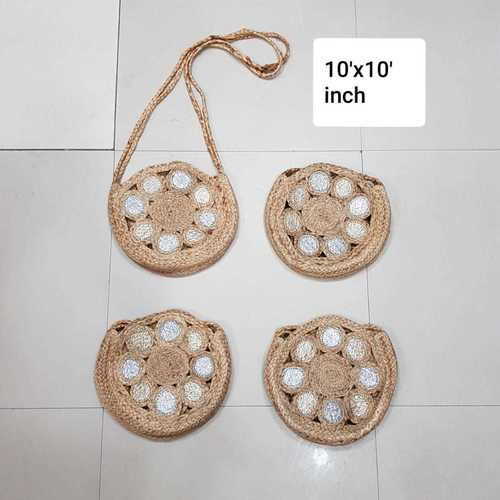 Woven Round Jute Beach Tote Bag With Silver Print