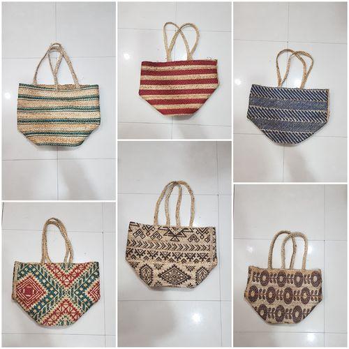 Printed Jute  Beach Basket Bag