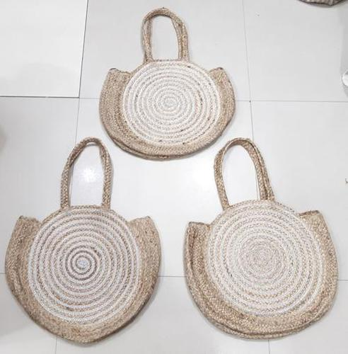 Woven Beach Tote Bag With Gold Lining