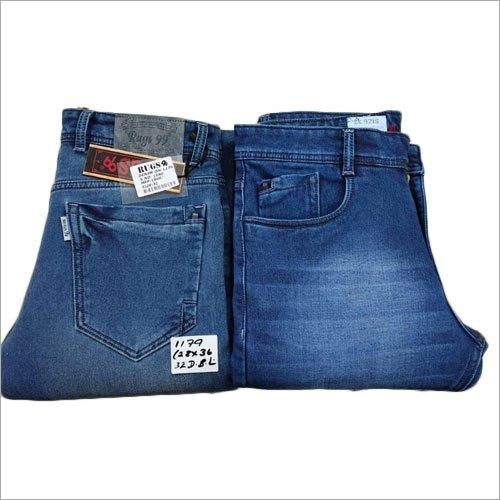 Mens Blue Denim Faded Jeans