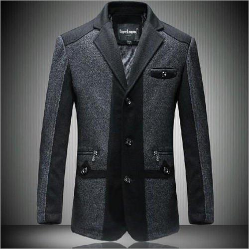 Mens Black Cotton Party Wear Coat