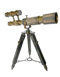 10 Inch Antique Brass Double Barrel Telescope With Wooden Box