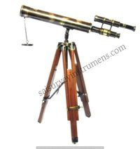18 Inch Brass Antique Nautical Retractable Telescope with Brown Wooden Stand
