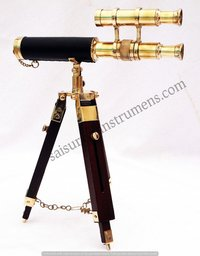 10 Inch Shiny Polished Brass Double Barrel Telescope With Wooden Box