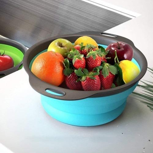 Big Size (1 Pcs) Foldable Silicone Round Food Strainer