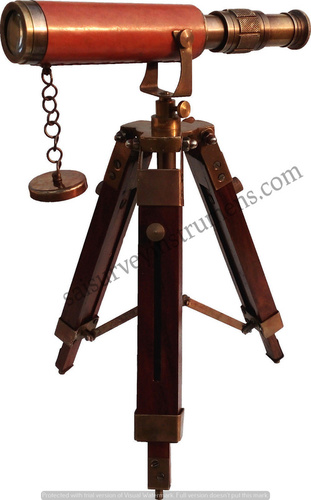 10 Inch Leather Sheathed Brass Antique Telescope With Stand