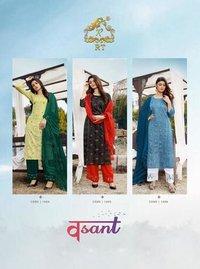Vasant by Rijiya Trends Viscose Weaving Jari Lining Kurtis Catalogue