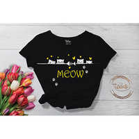 Meow Black Cotton T-Shirt