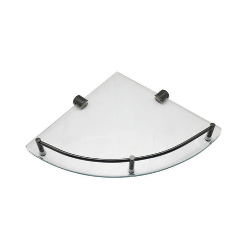 Corner Glass Shelf with Rail