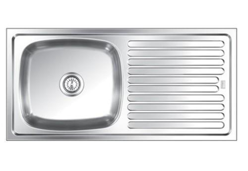 45X20X9 DELUXE SINGLE Bowl with Drain Board Sink