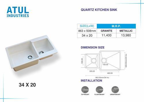 34 X 20 Double Bowl Quartz Kitchen Sink