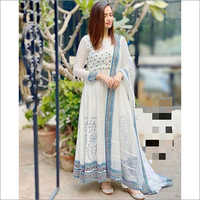 Ladies Rayon One Piece White Gown With Dupatta