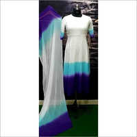 Ladies Rayon Tie Dai One Piece Gown With Dupatta