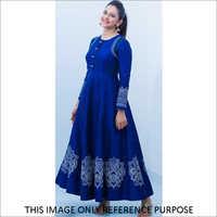 Ladies Rayon Printed Blue Gown Nakul