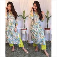 Ladies Rayon Printed Yankita Kurti With Pant
