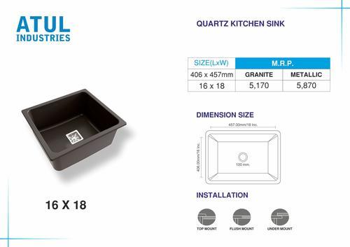 16x18 Quartz Kitchen Sink
