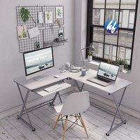 L Shaped Corner Height Adjustable White Wood Custom Made Computer Desk
