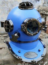 Antique Blue Full Size Divers Diving Helmet Scuba Us Navy Mark V Christmas Gift