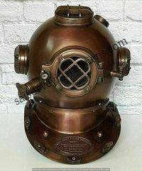 Antique Diving Helmet Boston Brown Navy Mark Deep Sea Marine Divers Scuba Morse