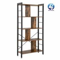 Indoor Corner Floor Vintage Antique Wrought Iron Wood Metal Ladder Shelf