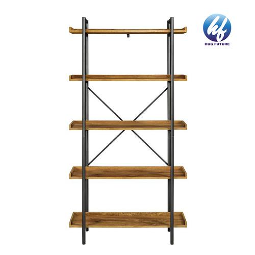 Metal Frame Free Standing Storage Leaning Ladder Shelf 5-Tier Bookshelf