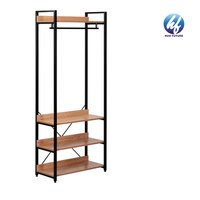 Industrial Wood Wardrobe Garment Rack For Hanging Clothes And Storage