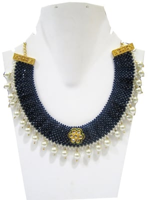 Hand Woven Knitted Beaded Stone Necklace Gold Plated Multi Color