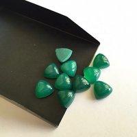 9mm Green Onyx Trillion Cabochon Loose Gemstones