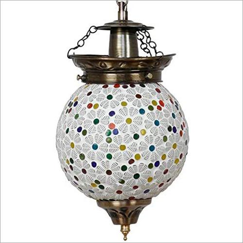 Handmade Round Glass Mosaic Pendant Hanging Lamp