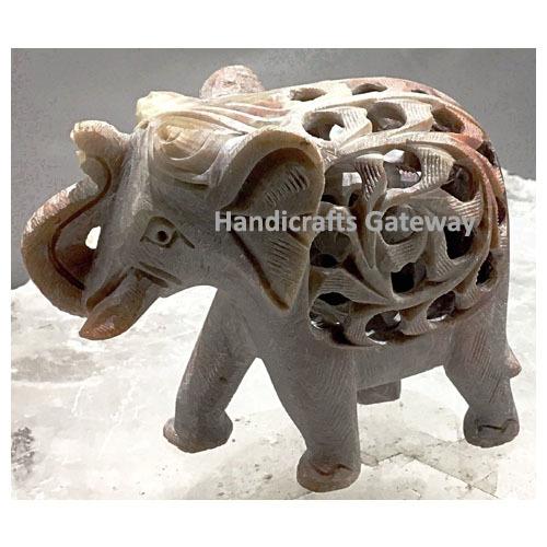 Sculpture Natural Soapstone Undercut Elephant Statue For Home Decor