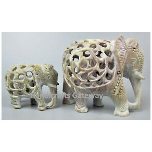 Natural Beautiful Handmade Soapstone Elephant Figure